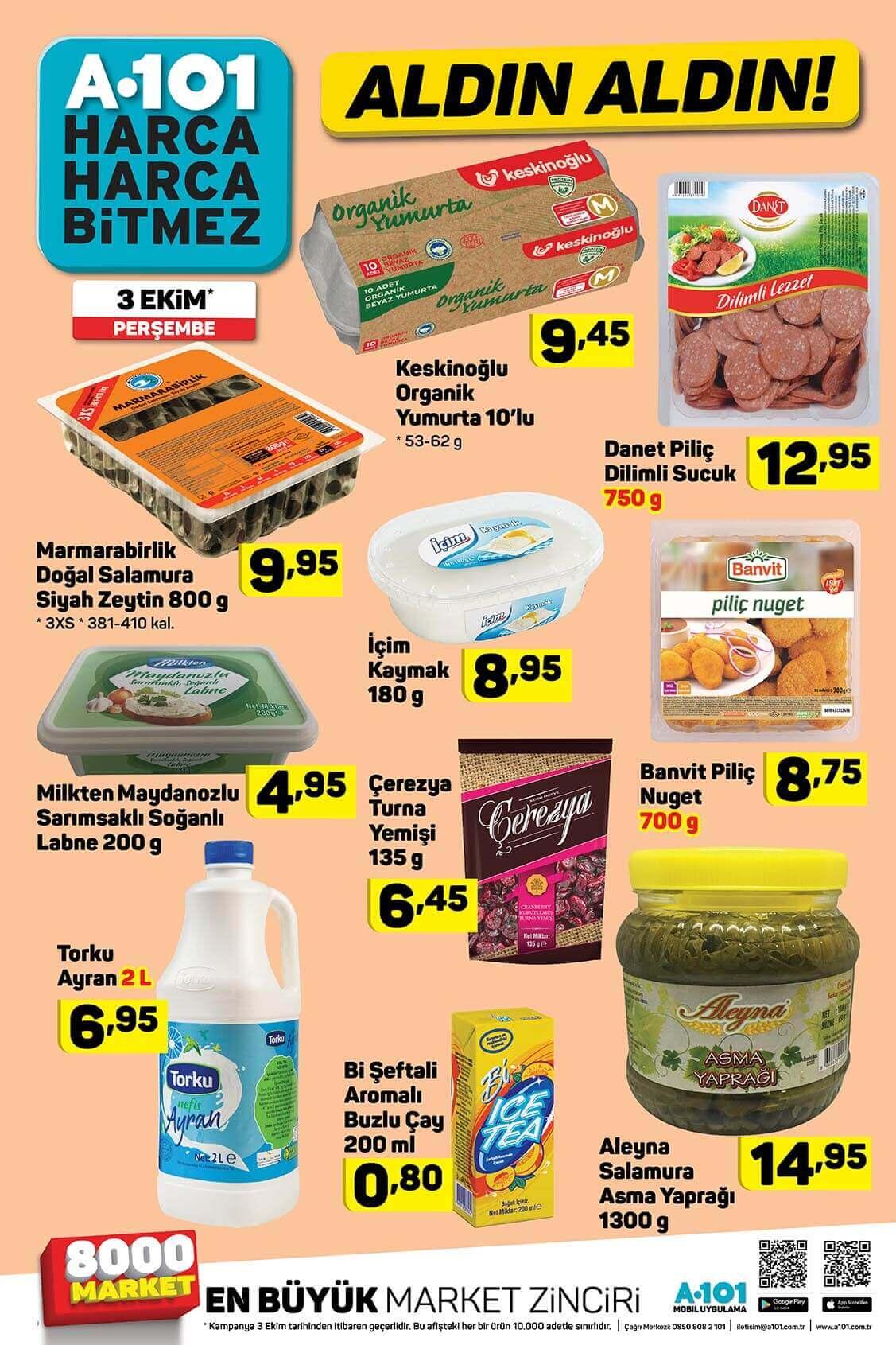 a101 3 Ekim Gıda Ürünleri