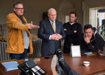 (L to R) Director Adam McKay, actor Christian Bale, producer Kevin Messick, and cinematographer Greig Fraser on the set of VICE, an Annapurna Pictures release. Credit : Matt Kennedy / Annapurna Pictures 2018 © Annapurna Pictures, LLC. All Rights Reserved.